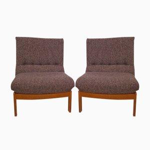 Vintage Sessel aus Teakholz und Wolle, 1970er, 2er Set