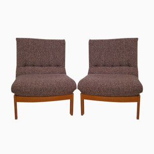 Vintage Teak and Wool Lounge Chairs, 1970s, Set of 2
