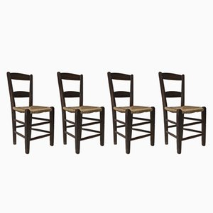 Antique Ladder Back Chairs, 1890s, Set of 4