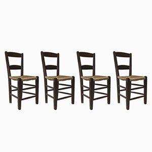 Sedie antiche con schienale a stecche, fine XIX secolo, set di 4