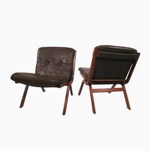 Folding Rosewood & Leather Lounge Chairs, 1960s, Set of 2
