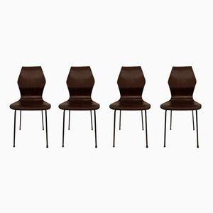 Geschwungene Vintage Stühle aus Schichtholz, 1950er, 4er Set