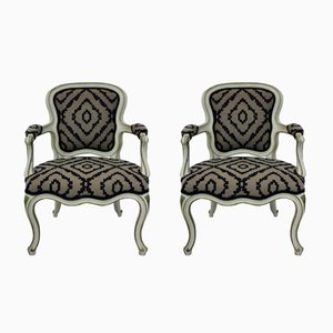 Mid-Century Large French Painted Armchairs, Set of 2