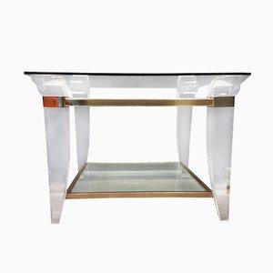 Table Basse en Lucite, Laiton et Verre, 1980s