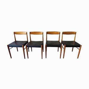 Dining Chairs in Teak and Leather by Henry W. Klein for Bramin, 1960s, Set of 4