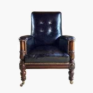 Sillón William IV antiguo de cuero y caoba, 1830