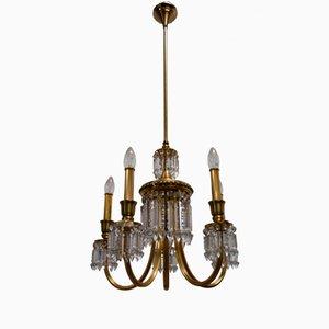 Lampadario in ottone placcato in oro e cristallo di Lumi Milano, anni '50