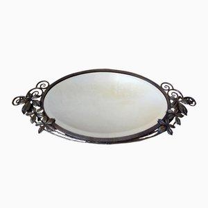 Angeschrägter Französischer Spiegel aus Schmiedeeisen, 1930er