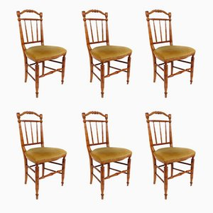 French Wooden Dining Chairs, 1950s, Set of 6