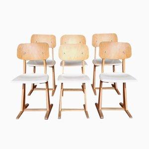 Sedie vintage in legno bianco e chiaro di Casala, set di 6