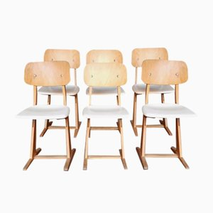 Vintage Chairs in White & Light Wood from Casala, Set of 6