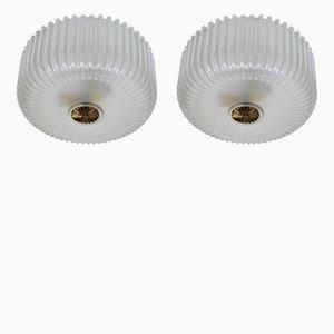 Lámpara de techo vintage de latón y vidrio. Juego de 2