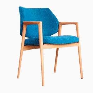 Vintage Scandinavian Chair in Wood & Blue Fabric