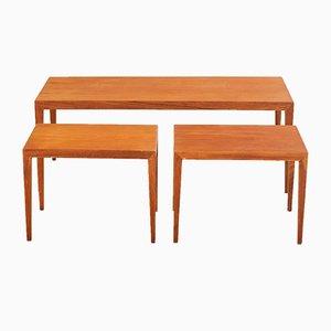 Tavolini a incastro in teak di Severin Hansen per Haslev Møbelfabrik, anni '50