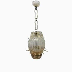 Lámpara colgante Mid-Century con hojas de cristal de Murano de Ercole Barovier para Barovier & Toso