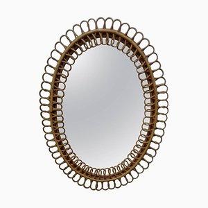 Mid-Century Spiegel aus Rattan