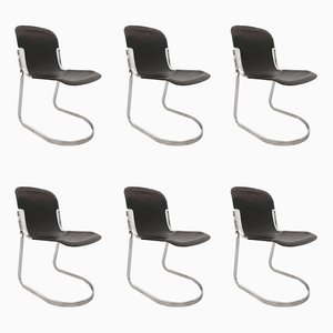 Cantilever Dining Chairs by Willy Rizzo for Cidue, 1970s, Set of 6