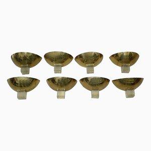 Vintage Brass & Plexiglas Appliques, Set of 8