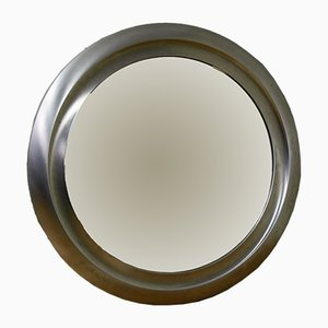 Round Mirror in Brushed Metal, 1970s