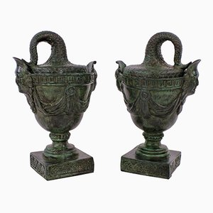 Antique Bronze Tazzas, Set of 2