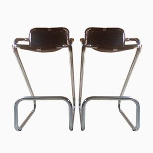 Leather & Chrome Les Arcs Bar Stools by Charlotte Perriand, 1960s, Set of 2
