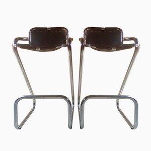 Taburetes de bar Les Arcs de metal cromado y cuero de Charlotte Perriand, años 60. Juego de 2