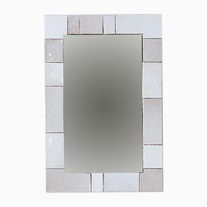 Vintage White Tile Mirror from Amphora