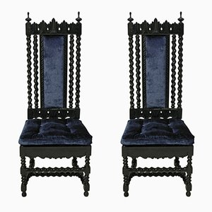 Solid Ebony Anglo-Indian Hall Chairs, 1840s, Set of 2
