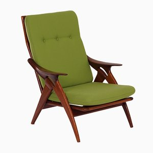 Butaca de tela verde de De Ster Gelderland, años 60