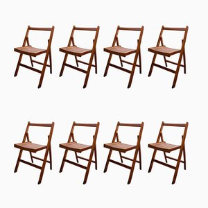 Vintage English Folding Chairs, Set of 8