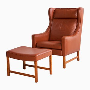 Caramel Brown Reading Armchair with Ottoman, 1960s