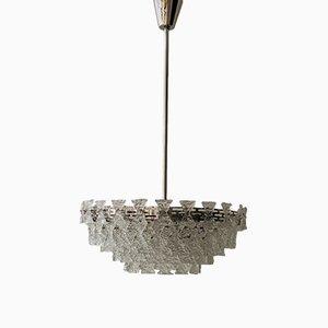 Lámpara de araña de vidrio texturizado de J. T. Kalmar, años 60