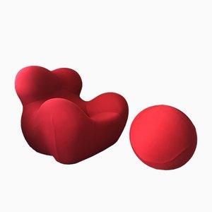 Mid-Century Red Up 2000 Armlehnstuhl mit Fußhocker von Gaetano Pesce für B&B Italia