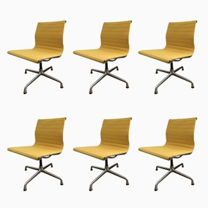 Yellow EA101 Chairs by Charles & Ray Eames for Vitra, 1968, Set of 6