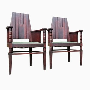 Antique Amsterdam School Chairs, 1910s, Set of 2