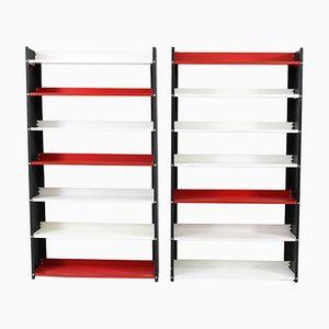 Librerie Mid-Century moderne in metallo nero, bianco e rosso di Pilastro, anni '60, set di 2