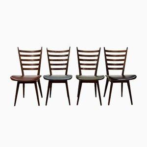 Quattro Colori Esszimmerstühle aus Teak & Kunstleder von Cees Braakman für Pastoe, 1960er, 4er Set