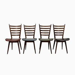 Quattro Colori Teak and Leatherette Dining Chairs by Cees Braakman for Pastoe, 1960s, Set of 4