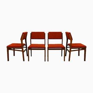 Esszimmerstühle aus Teakholz mit rotem Bezug von TopForm, 1960er, 4er Set
