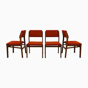 Teak and Stone Red Dining Chairs from TopForm, 1960s, Set of 4