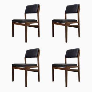 Esszimmerstühle aus Teakholz und Kunstleder von TopForm, 1960er, 4er Set