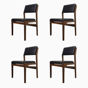 Teak and Leatherette Dining Chairs from TopForm, 1960s, Set of 4