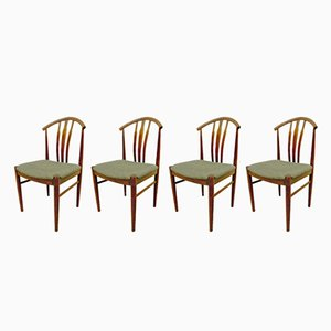Swedish Oak and Olive Green Dining Chairs, 1960s, Set of 4