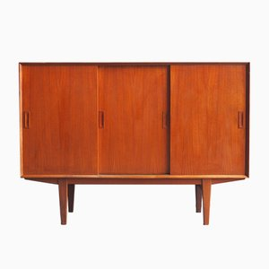 Danish Teak Veneer Highboard with Sliding Doors, 1960s