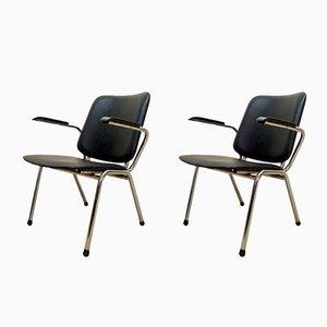Armlehnstühle aus Chrom und schwarzem Kunstleder von Martin de Wit für Gispen, 1960er, 2er Set