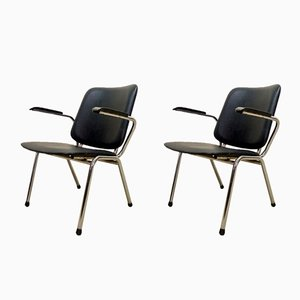 Chrome and Black Leatherette Armchairs by Martin de Wit for Gispen, 1960s, Set of 2
