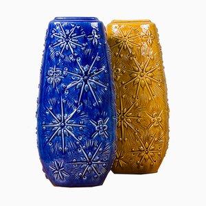 Deutsche Keramik Vasen in Blau und Ocker, 1970er, 2er Set