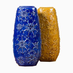 Jarrones alemanes de cerámica azul y ocre, años 70. Juego de 2