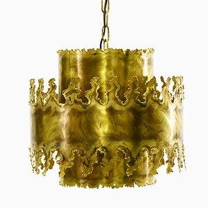 Lampe à Suspension Mid-Century 6399 Brutaliste en Laiton Oxydé par Svend Aage Holm Sørensen pour Holm Sørensen & Co