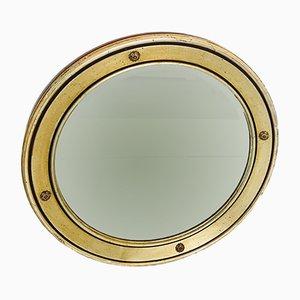 Specchio a muro vintage in legno ed ottone dorato, anni '70